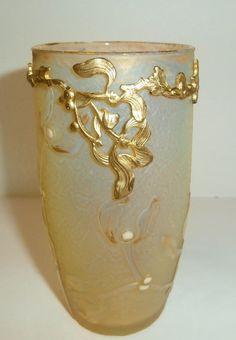 19th C Daum Nancy Acid Cut Enameled Ormolu Vase Signed