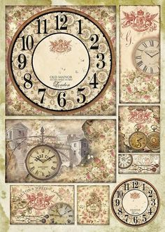Decoupage-paperi Watch and Roses Decoupage Vintage, Papel Vintage, Shabby Vintage, Shabby Chic, Vintage Labels, Vintage Ephemera, Vintage Cards, Vintage Images, Paper Art