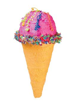This super sweet Ice Cream Cone Piñatafeatures a yummy-looking strawberry ice cream cone with multicolored sprinkles. It offers 20 ribbons attached to the bottom of the Piñata, but only 1 opens the t