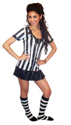 Referee Costume with Knee Socks! I like this but with thick black tights & boots.