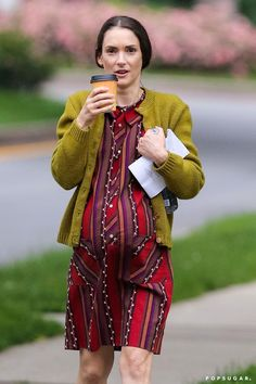 Pin for Later: This Week's Can't-Miss Celebrity Pics!  Winona Ryder wore a fake baby bump while filming Experimenter in Brooklyn on Thursday.
