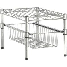 Wire organizer with height-adjustable drawer and shelve stores kitchen and bath essentials in or out of the cabinet.