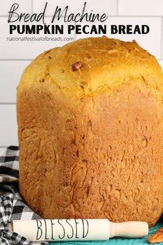 Blueberry Bread Machine Recipe, Pumpkin Bread Recipe For Bread Machine, Easy Bread Machine Recipes, Bread Maker Recipes, Pumpkin Pecan Bread Recipe, Bread Machine Bread, Bread Machines, Pumpkin Recipes, Cooking Bread