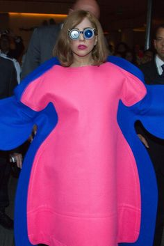Is Lady Gaga trying to be a Flubber's pink and blue daughter in this September 2012 outfit?