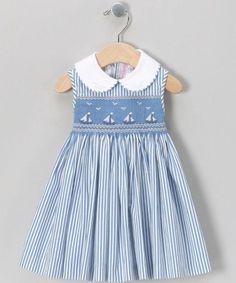 Love this Emily Lacey Blue Smocked Sailboat Dress - Infant, Toddler & Girls on Girls Smocked Dresses, Little Girl Dresses, Smocked Dresses For Toddlers, Kid Dresses, Vintage Girls Dresses, Smock Dress, Kind Mode, Kids Fashion, Fashion 2016