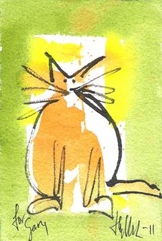 DYE HARD PRESS: Watercolour of a cat by Henry Denander  Love the wild whiskers