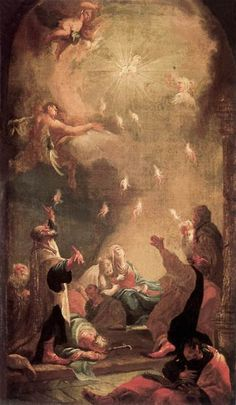 """ Romans // The Descent of the Holy Ghost (Pentecost) / La venida del Espíritu Santo (Pentecostés) // // Joseph Ignaz Mildorfer // Magyar Nemzeti Galéria Catholic Art, Religious Art, Catholic Traditions, Day Of Pentecost, Spirit Of Truth, National Gallery, Saint Esprit, Spiritus, Biblical Art"