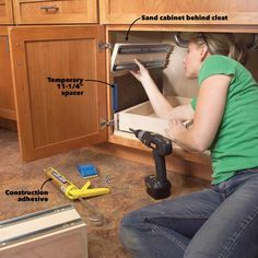Kitchen Cabinet Storage Solutions: DIY Pull Out Shelves Cheap Kitchen Cabinets, Kitchen Cabinet Storage, Storage Cabinets, Kitchen Sinks, Kitchen Furniture, Diy Pull Out Shelves, Under Sink Storage, Extra Storage, Carpentry Tools