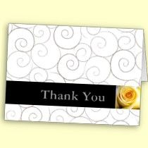 Thank you note cards with gray ribbon swirls and yellow rose accent.