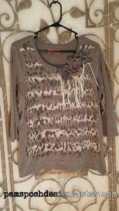 XL Grey T Shirt Top 3/4 Sleeve TShirt w/Rhinestones, Concious Clothing Raw Edge Shirts Tops BOHO Shabby Chic Bohemian Mori Girl Steampunk by PamsPoshDesigns on Etsy