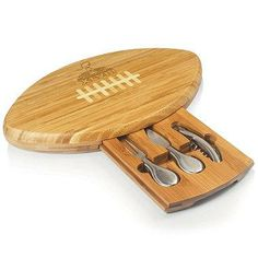 This NFL Quarterback Super Bowl XLVIII Football Cutting Board is shaped like a football and is laser engraved with the Super Bowl XLVIII emblem.