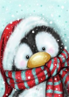 Animal Mixed Media - Penguin With Santa S Hat by Makiko