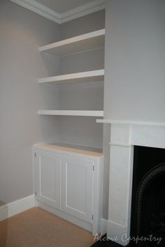 New Ideas For Living Room Shelves Alcove Cabinets Alcove Ideas Living Room, Bedroom Alcove, Living Room Built Ins, Living Room Storage, Living Room With Fireplace, New Living Room, Living Room Designs, Built In Wardrobe Ideas Alcove, Bedroom Storage