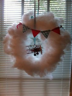 SALE Retro Airplane Cloud Wreath by SweetLolaJ on Etsy