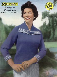 PDF File Vintage Ladies Sweater with Fair Isle Bordered Collar, Marriners Knitting Pattern 602 on Etsy, £1.49