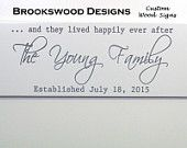 """Wood Family Name Sign with Quote """"And They Lived Happily Ever After""""Customized Last Name Wedding Gift Wall Plaque for Home Decor"""
