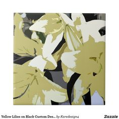 Yellow Lilies on Black Custom Design Small Square Tile
