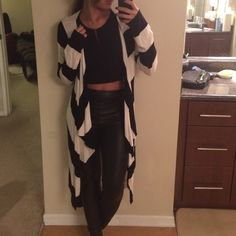 Long Striped Cardigan Black and white with waist tie. Drapes in front.  ⚠️ I only quote bundles. ⚠️ Use the 'Offer' tool for single items. ⚠️ No Trades. ⚠️ No holds. ⚠️ No soliciting. Sweaters Cardigans