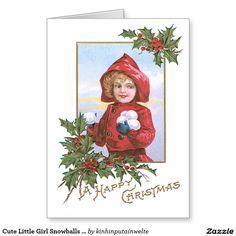 Cute Little Girl Snowballs Holly Greeting Card