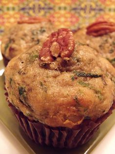 Yum! Healthy Goodness! Spinach Banana Nut Muffins! Beyond delicious!
