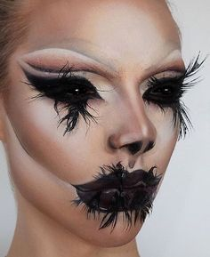 The make-up presented in this image evokes the sense of darkness oozing out of the eyes and mouth, portraying the evil gradually possessing this woman. Using this technique as inspiration, the stems of black growing out of the eyes and lips can represent the anxiety of my character taking over.