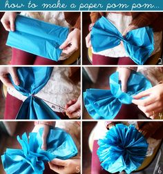 Paper pom pom tutorial, plus several other garland ideas Tissue Paper Garlands, Tissue Pom Poms, Paper Pom Poms, Tissue Paper Flowers, Diy Flowers, Hanging Garland, Pom Pom Garland, Diy Garland, Garland Ideas