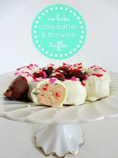 No Bake Cake Batter & Brownie Batter Truffles - Easy Valentine's Day Treat