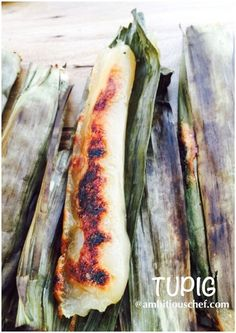 Tupig is made up of glutinous rice and grated coconut wrapped with a banana leaf and they are cooked on the grill. It is sticky,chewy, and delicious Filipino sweet treat and best eaten when it is f…
