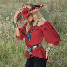 Ruffled red silk shirt.  Not just for cowgirls.
