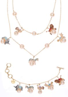 Disaya - Hand painted carousal pearl charm necklace and bracelet