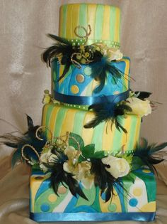 Blue Gold Green Yellow Multi-shape Wedding Cakes Photos & Pictures - WeddingWire.com