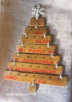 Re-Purposed Yardstick Christmas Tree