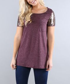 Coco and Main Plum Sequin Sleeve Tunic - Women | zulily