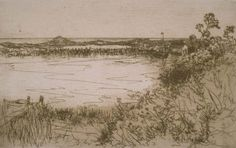 """""""Hook Pond Easthampton,"""" Mary Nimmo Moran, etching, 3 in. x 5 Davis Museum and Cultural Center. Thomas Moran, Hudson River School, Pond, Image Search, Mary, Museum, Cultural Center, Etchings, Long Island"""