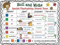 Spanish Thanksgiving Roll and Write #spanishlessons