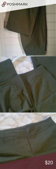 Army green business slacks/yoga pants They look like business slacks. The feel like yoga pants, and pull on like yoga pants too. Wash and hang dry to keep these awesome properties.  They are amazing and in excellent used condition. Rekucci Pants Trousers