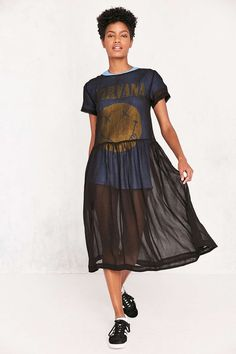 Kimchi Blue Sparrow Sheer Drop-Waist Midi Dress - Urban Outfitters