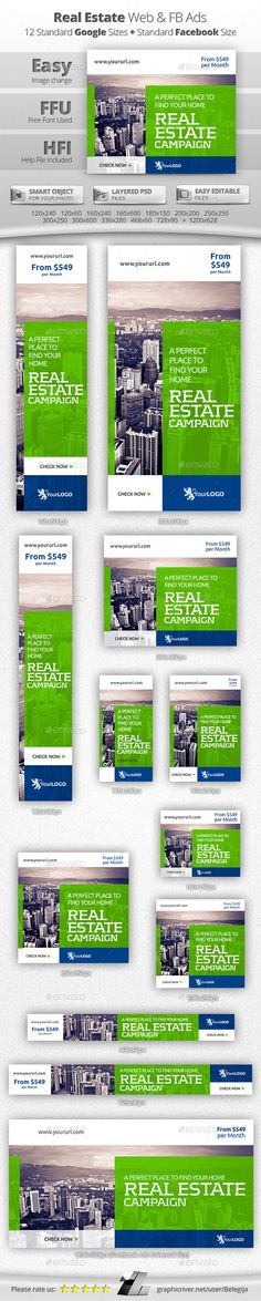 Flat Real Estate Web & Facebook Banners Template #design #ads Buy Now: http://graphicriver.net/item/flat-real-estate-web-facebook-banners/12873726?ref=ksioks