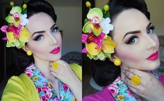 "Yellow/Pink Spring Hairflowers by NicCoCo Creations http://www.etsy.com/shop/niccococreations Jewellery: Glitter Paradise Dress: British Retro ""Jenny B Good"" dress Makeup/Hairstyle by me"
