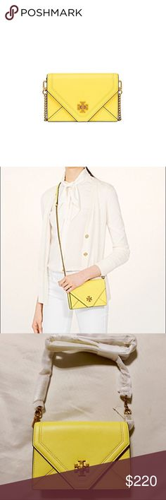Tory Burch Crossbody Kira mini leather cross-body bag in Summer Yellow. 3 credit card slots and a zipper compartment inside. Brand new. Tory Burch Bags Crossbody Bags