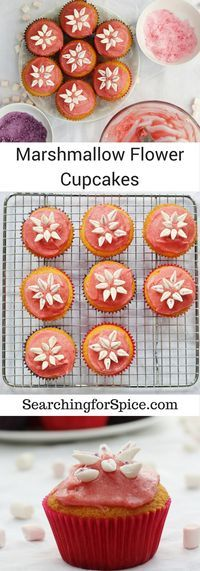 Marshmallow Flower Cupcakes with a raspberry jam buttercream topping
