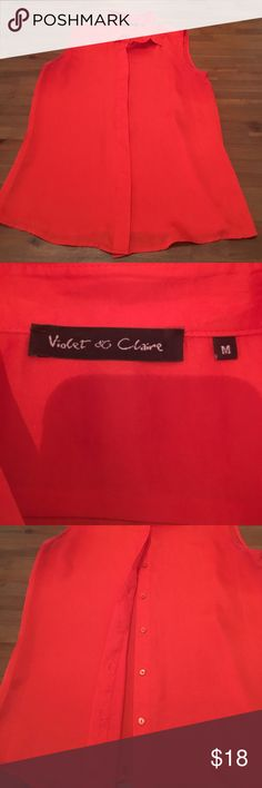 "Orange Violet & Claire Blouse size medium 100% polyester. Violet & Claire Blouse purchased at Nordstrom. Button up closure hidden under material. Collar and short sleeve. Beautiful orange color. Nice by itself or with a blazer. Bust measures 18"" and length measures 26 1/2. No stains or tears. Smoke free home. Violet & Claire Tops Button Down Shirts"