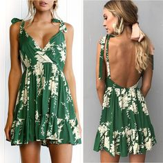c9629cf0f75d Deep V Neck Backless Sleeveless Mini Dress. Boho DressBohemian Summer  DressesBeach ...