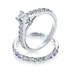 Bling Jewelry // Pear Shaped CZ Sterling Silver Engagement Wedding Ring Set