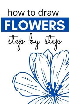 Easy Flower Drawings, Flower Art Drawing, Flower Drawing Tutorials, Flower Sketches, Easy Sketches, Pencil Art Drawings, Watercolor Art Lessons, Watercolor Painting Techniques, Watercolor Paintings