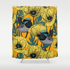 Buy Fairy Wren And Poppies In Yellow Shower Curtain By Katerinamitkova Worldwide Shipping Available At