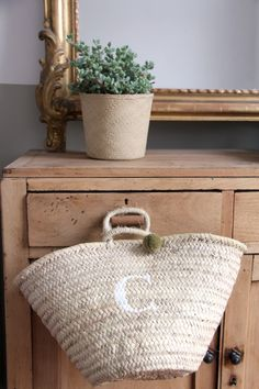 """""""c"""" is for cute! Beautiful baskets with initials stencilled onto them...."""