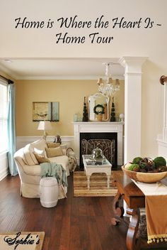 Loving her paint colors and style – esp. Sherwin Williams Lotus Petal paint colo… Loving her paint colors and style – esp. Living Room Decor Yellow Walls, Living Room Colors, Living Room Paint, My Living Room, Small Living, Kitchen Wall Colors, Yellow Kitchen Walls, Room Paint Colors, Mellow Yellow