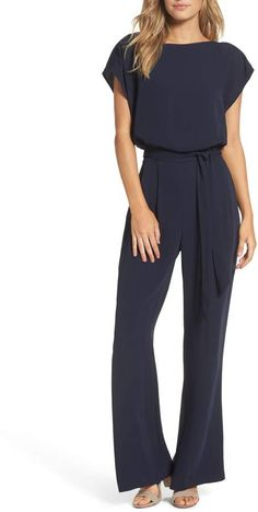 Women's Eliza J Cap Sleeve Wide Leg Jumpsuit, Size 4 - Blue - Outfits for Work Mode Chic, Mode Style, Jumpsuit Elegante, Look Fashion, Fashion Outfits, Moda Outfits, Casual Outfits, Cute Outfits, Girl Outfits
