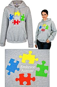 'Embrace Autism' sweatshirts, and other Autism Awareness clothing and accessories @ theautismsite.greatergood.com. Every purchase funds research and therapy to help children w/ Autism!
